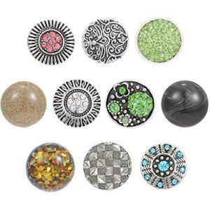 Morella click-button Lot de pierre naturelle et ornements 10Click boutons argent