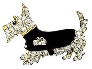 Neuf dans une boîte cadeau pour femme Sparkling Diamante Cristal mignon Scotty Chien Westie Scottie Puppy Broche badge Cadeau Accessorise-me
