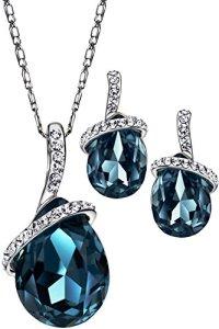 Or Platine SWAROVSKI ELEMENTS Cristal Kit Collier Boucles d'Oreilles Parures Bijoux Fantaisie Femme En Coffret Neoglory Jewellery