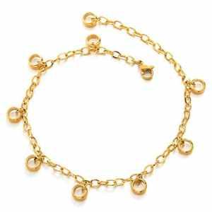 COOLSTEELANDBEYOND Acier Inoxydable Femme Or Bracelets de Cheville avec Ouvert Cercles Charms