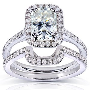 Forever brillant radiant-cut & avec zircons ronds Lot de mariage Diamant en Or 913/5carats (ctw) en or blanc 14K 6.0
