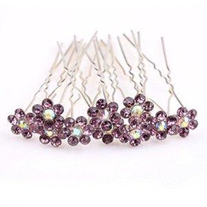 Haute Qualité élégant lilas Big «Fleur de Cristal Diamante pour mariage mariée Prom épingles à cheveux–3broches par Trendz