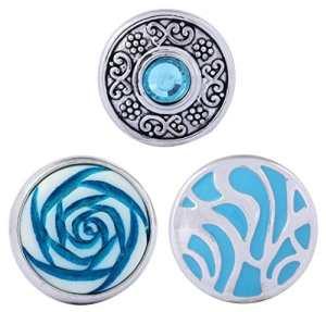 Morella click-button Lot de 3boutons pression pour bijou Motif fleurs et ornements