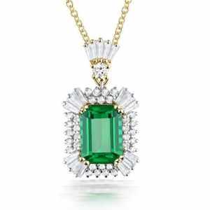 Vintage pour femme Or jaune massif 14K Émeraude Pendentif Naturel Colombie Émeraude Diamant