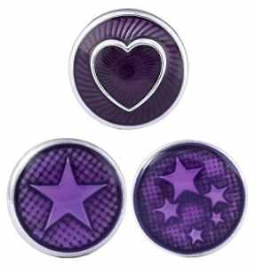 Morella® Click-Button Femmes lot de 3 boutons pression pour bijou femme à motifs étoiles et cœurs