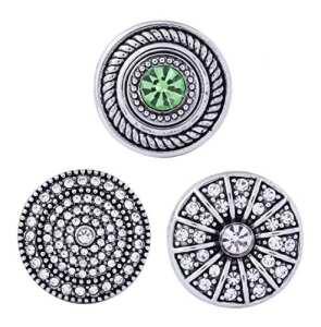 Morella click-button Lot de 3boutons pression pour bijou strass Paradis Vert