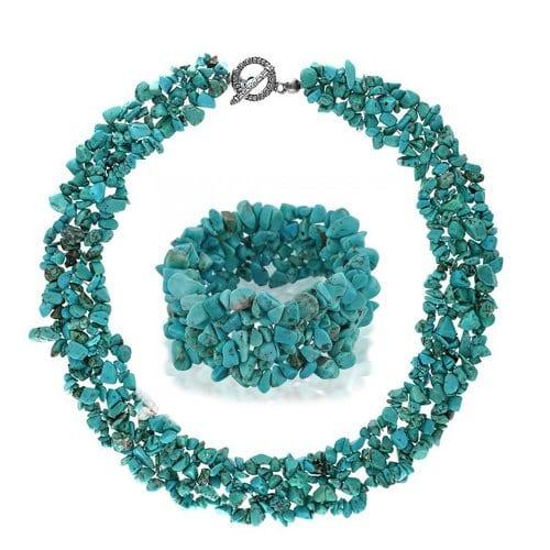 Bling Jewelry Turquoise reconstituée Multi Strand Cluster Jetons ensemble Collier et bracelet en argent plaqué