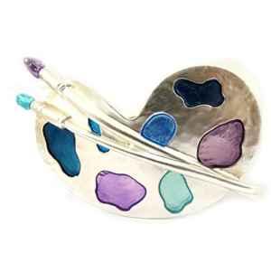 Dolce Vita [L5406] – Barrette Créateur 'Artiste Peintre' bleu violet argenté