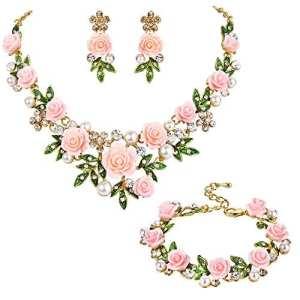 TENYE femme Cristal Perle Artificielle Rose Feuille Collier+Boucle d'oreilles+Bracelet Parures Rose Clair Ton d'or