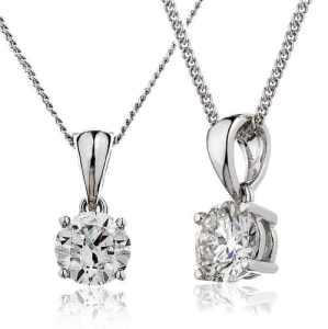 1CT Certified G/VS2 Round Brilliant Cut Claw Set Solitaire Diamond Pendant in 18K White Gold