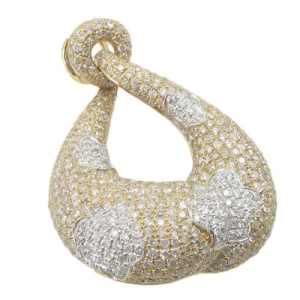 Femme 3.2Outlet–14K Deux Tons Or Blanc et Jaune à diamant Pendentif lp430K 27mm de large et 37mm de long