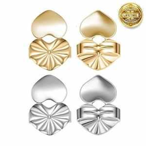 lnsky2018 Magic Boucles d'oreilles Shells, 2paires de réglable hypoallergénique Sécurité fermoirs Vu à la Télé (1paire de Plaqué argent et 1paire de Plaqué or) (Cœur)