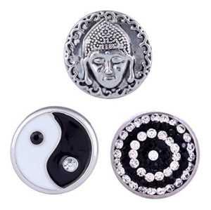 Morella click-button Lot de 3boutons pression pour bijou noir–Blanc Harmonie