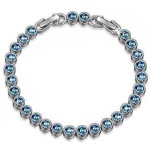 Susan Y Ocean Reve Bracelet Femme Cristaux de Swarovski Bleu Bijoux Cadeau Anniversaire Fete des Meres idee Cadeau Noel Cadeau Saint Valentin Amoureux Romantique Mere Fille Mariage Couleur Argent