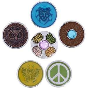 Morella boutons pression Lot de 6Click Button paix des animaux Multicolore