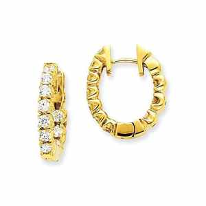 qualitã ¤ t Boucles d'oreilles diamant or jaune pliable H/I1Hoop 14K