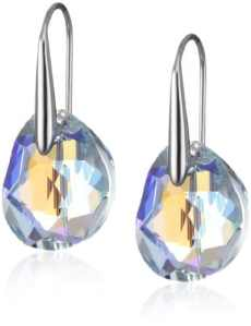 Swarovski Boucles d'oreilles Galet, bleu, métal rhodié