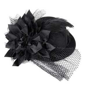 Tinksky fleurs BARRETTE A CHEVEUX Mini CHAPEAU PLUME Style Burlesque Mini Chapeau pour femme Taille unique (Noir)
