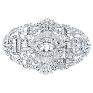 TENYE Cristal Autrichien Vintage Inspiré Marié Pince Barrette Clair Ton d'argent