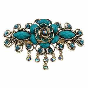 IPOTCH Style Chinois Broche à Cheveux Pince à Cheveux en Strass Barrette Perle Décoration Ancienne Chinoise – Bleu