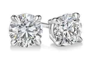 Boucles d'oreilles à tige en or blanc 14 carats avec diamant taille ronde 1,41 carat, couleur E, clarté SI2