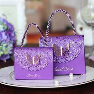 DishyKooker Lot de 25 boîtes à Bonbons avec poignée pour Mariage Motif Papillons Purple Medium (11cm*9cm*5.5cm)