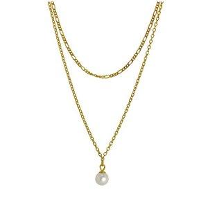 Double Collier à Perles en Argent 925/1000 Plaqué Or Jaune 41 et 46cm