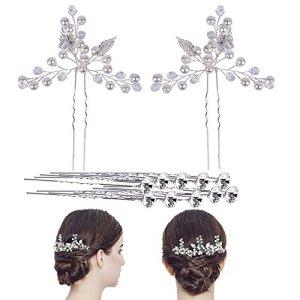 Épingle À Cheveux Nuptiale Pince À Cheveux De Mariage Bijoux De Mariée Avec Perle Forme En Feuille Élégant Cheveux Accessoires Pour Dames Femmes Et Filles Prom Fête