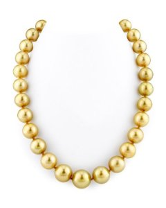 11-14 mm – Collier Femme – Perle de culture de Mer du sud d'or 14 carats qualité AAAA
