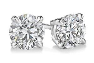 14K Or blanc diamant coupe ronde Boucles d'oreille à tige 1,45CTW, BuyFineDiamonds F-G Couleur, Vs2-si1Clarté