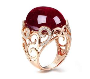 Blisfille Bague Femme Anniversaire Or Rose 18 carats Tourmaline*31.78ct Rouge Ovale Cadeau Noël