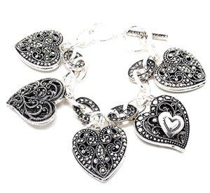 Recyclebabe Bracelets Cœur Bracelet à Breloques D10Marcassite Look Ornate Texture Amour Burnish Argenté