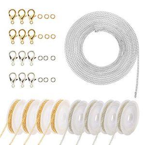 ZERHOK Chaîne d'Extension en Acier Inoxydable Rallonge de Chaîne Argent Or Fabrication de Bijoux Avec Fermoir Pour Collier Bracelet, 5 Taille (argent)