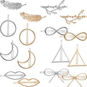 16 Pièces Pinces à Cheveux en Métal Épingles à Cheveux Géométriques Barrettes à Cheveux Creuses pour Accessoire de Cheveux de Femmes Filles (Jeu de Style 1)