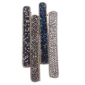 Lot de 4 Pinces à Cheveux Crocodiles Longues et Minces avec Strass – Accessoires pour Femmes Filles