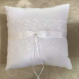 Blanc Satin Anneau De Mariage Oreiller 20 * 20cm Bague Bague Coussin Romantique De Mariage Décorations Bijoux Fournitures YMJZ-018 Blanc WEIWEITOE