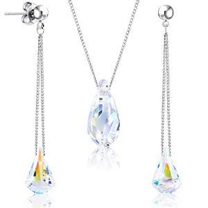 Parure boucles d'oreilles et collier plaqués rhodium ornés de cristaux Swarovski ® ǀ par 2Splendid ǀ Boîte cadeau offerte