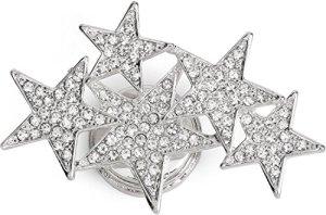 styleBREAKER Broche magnétique avec étoiles décorées de Strass pour écharpes, Foulards et Ponchos, Femmes, 05050061, Couleur:Argent