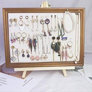 SUPERHUA Présentoir à Bijoux en Bois Massif pour Boucles d'oreilles, Colliers, Bracelets