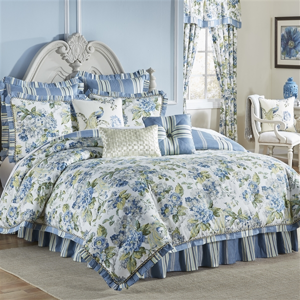 Luxurious Ornate Floral Green Blue Ivory Reversible Comforter Machine Washable 100 Cotton