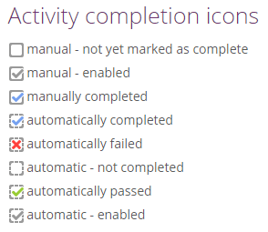 activity completion icons