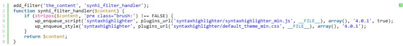 WordPress syntax highlighting filter plugin