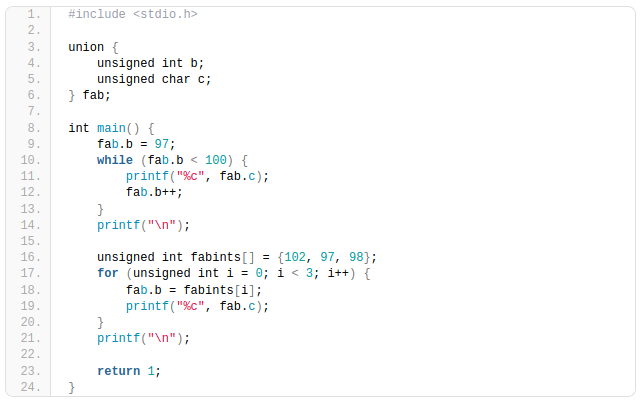 Syntax highlighted C code example