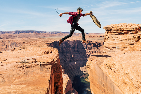 Man jumping over gap