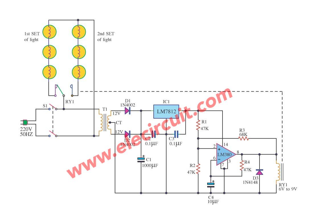 Christmas Tree Lights Circuits Lighting Circuit Diagram Gadgetronicx