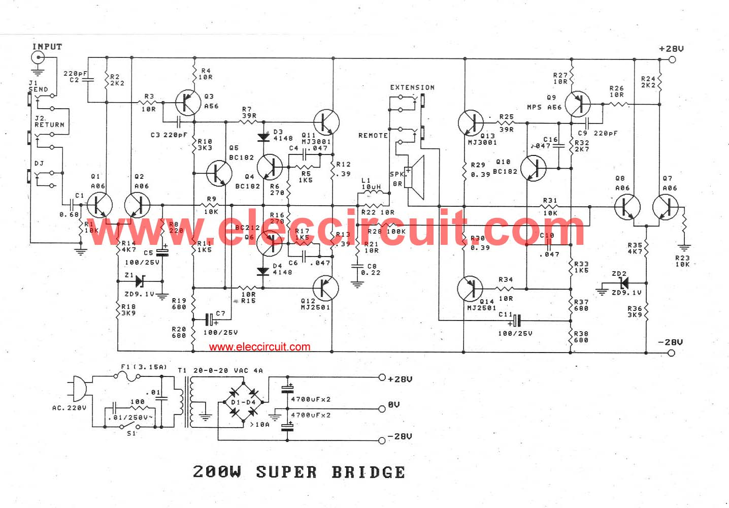 High Power Transistor Amplifier Circuits