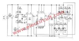 Traffic light controller circuit using CD4027  NE555