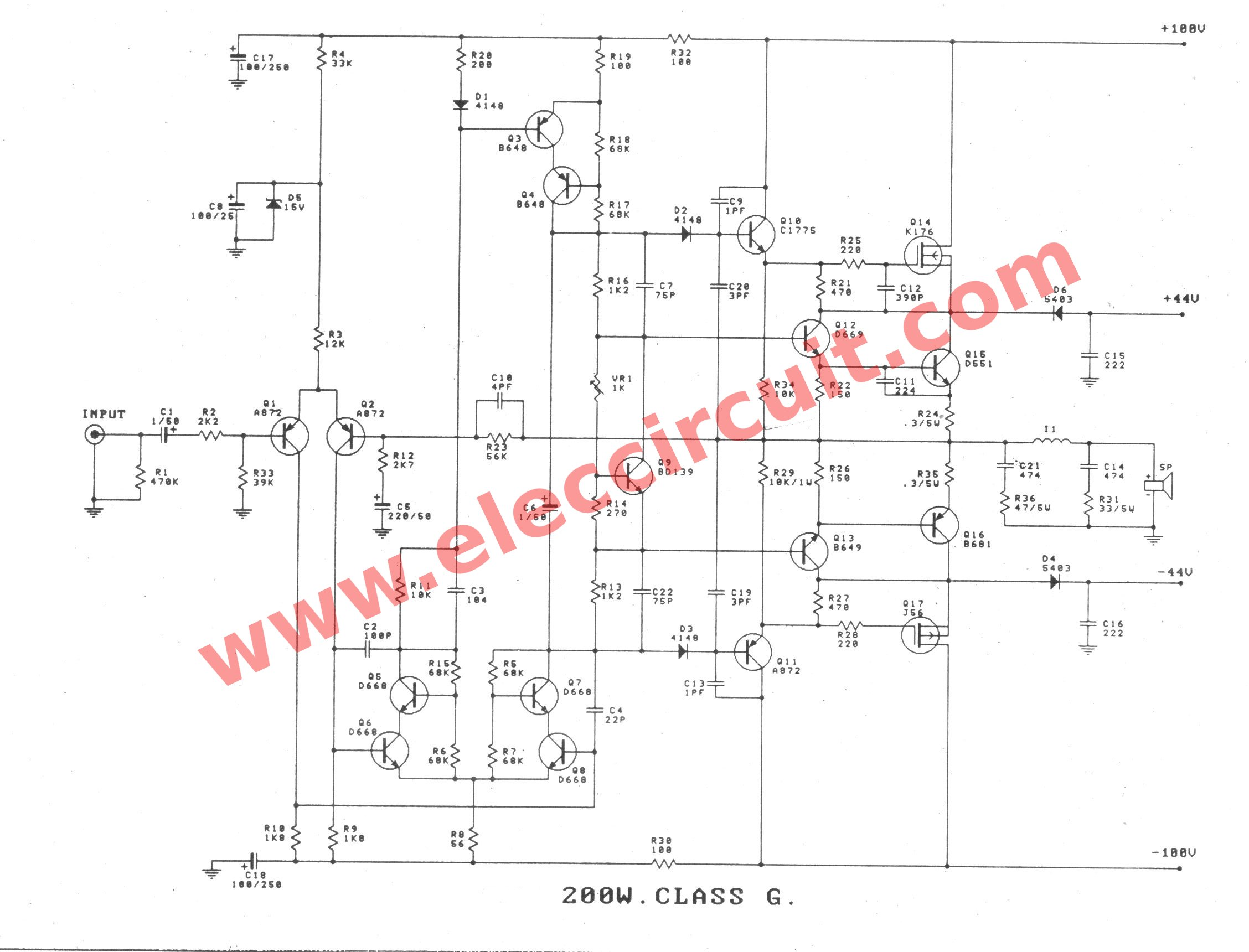 200 Watt High Power Amplifier Circuit Complet