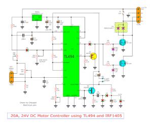 12V24V PWM Motor controller circuit using TL494IRF1405