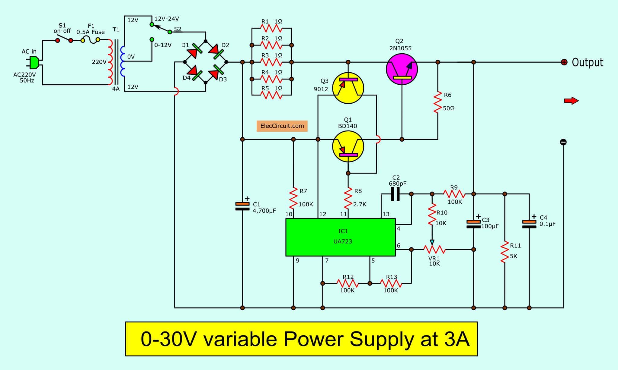 0 30v Variable Power Supply Circuit Diagram At 3a